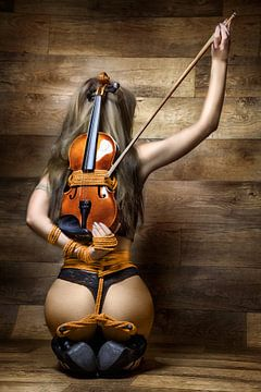 Violin tied to a model - music bondage von Rod Meier