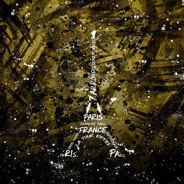 Digital-Art Eiffelturm | gold  von Melanie Viola