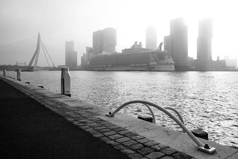 Cruiseschip Oasis of the Seas in Rotterdam (zwart-wit foto) van Martijn Smeets