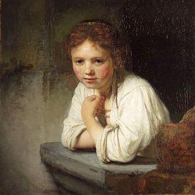 Meisje in 't venster - Rembrandt van Rijn van Marieke de Koning