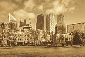 Skyline Den Haag bij Plein - sepia van