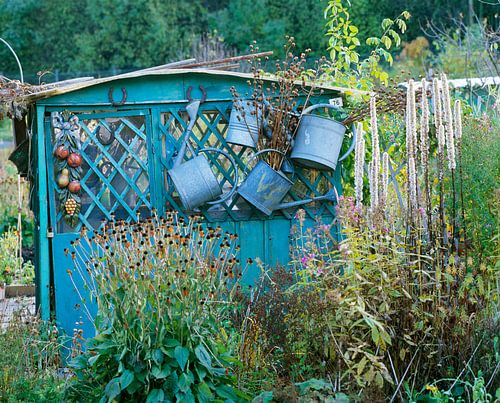 Hangende gieters aan een blauw tuinhuisje
