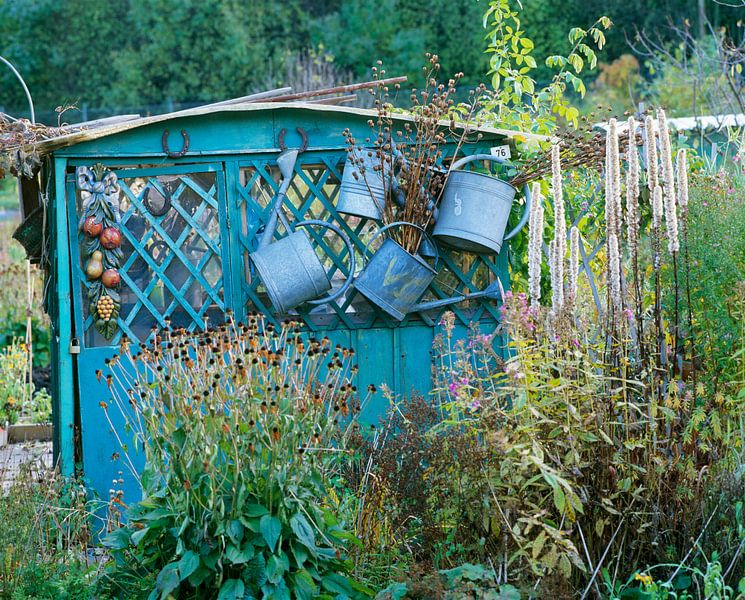 Hangende gieters aan een blauw tuinhuisje van Beeldig Beeld