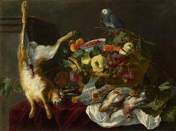Een stilleven met fruit, dood wild en een papegaai, waarschijnlijk van Jan Fyt