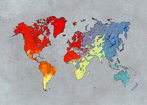 Weltkarte Kunst Farben #Karte #Weltkarte
