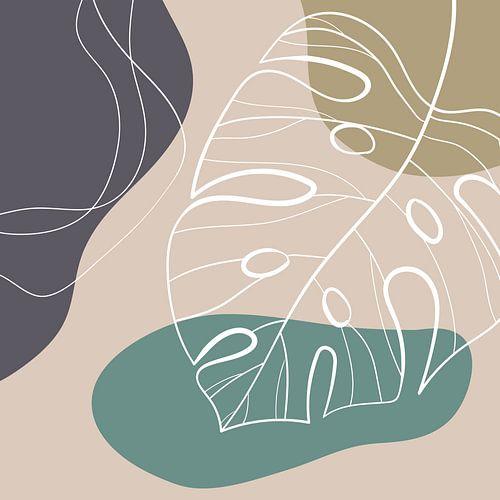 Stilistische bladeren, vormen en lijnen: zand, bruin en petrol