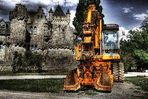 Bouwkraan voor kasteel