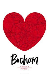 Bochum – City Map Design Stadtplan Karte (Herz)