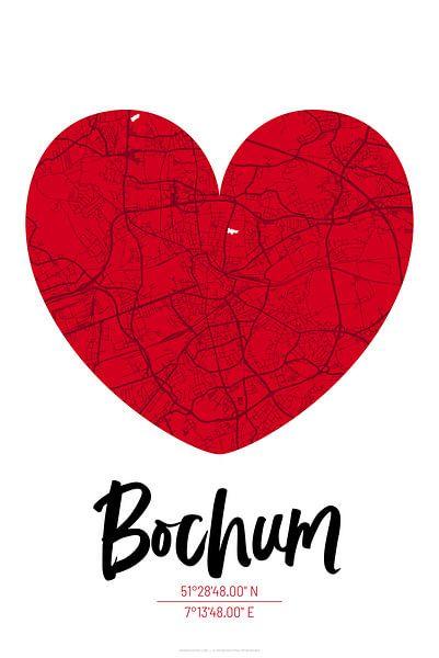 Bochum – City Map Design Stadtplan Karte (Herz) von ViaMapia