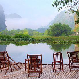 Terrasje in de natuur, Vietnam van Inge Hogenbijl