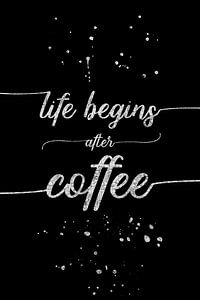 De tekst art Leven begint na de koffie | zilver