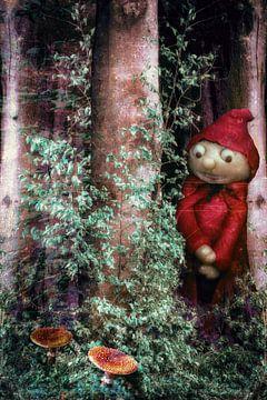Een kleine man staat in het bos ..... van Christine Nöhmeier