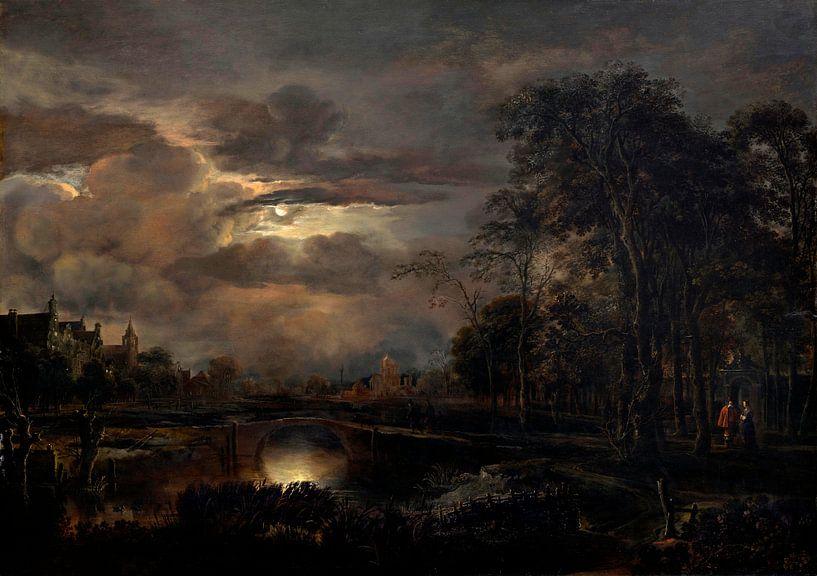 Mondbeschienene Landschaft mit Brücke, Aert van der Neer von Meesterlijcke Meesters
