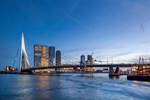 Erasmusbrug en de golven van een watertaxi van Peter de Kievith Fotografie
