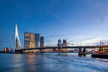 Skyline mit der Erasmusbrücke in Rotterdam von Peter de Kievith
