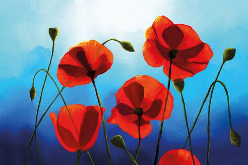 Schilderij van Rode Klaprozen voor een Blauwe Hemel