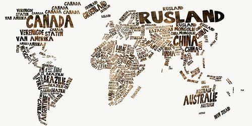 Wereldkaart typography sur Stef Van Campen