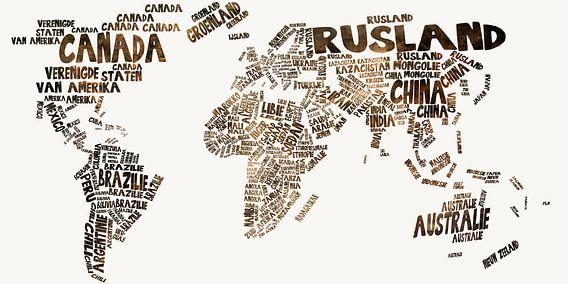 Weltkarte Typografie 1 von Stef Van Campen