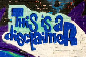 """Graffiti van de Engelse tekst """"This is a disclaimer"""" op een bakstenen muur in Groningen"""