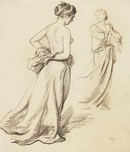 Oben-ohne-Frauen mit Gewandstudien, LUDWIG VON HOFMANN, ca. 1919