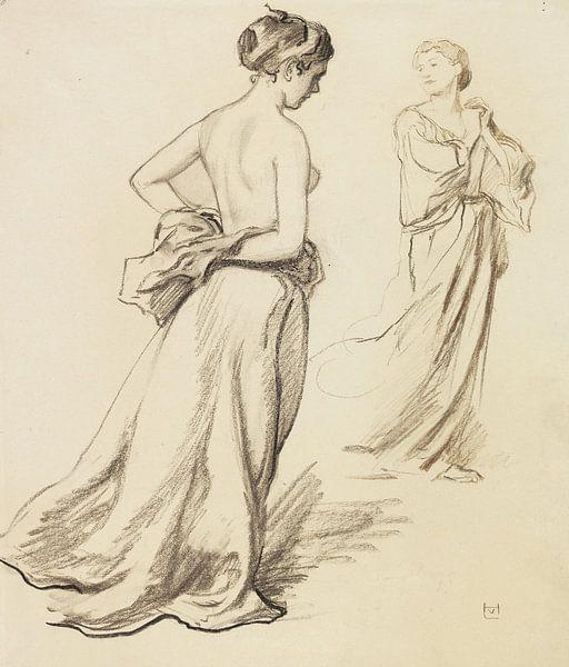 Oben-ohne-Frauen mit Gewandstudien, LUDWIG VON HOFMANN, ca. 1919 von Atelier Liesjes
