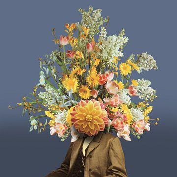 Zelfportret met bloemen (blauwe achtergrond) von toon joosen