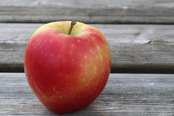 Appel op houten ondergrond van Anja van de Graaf