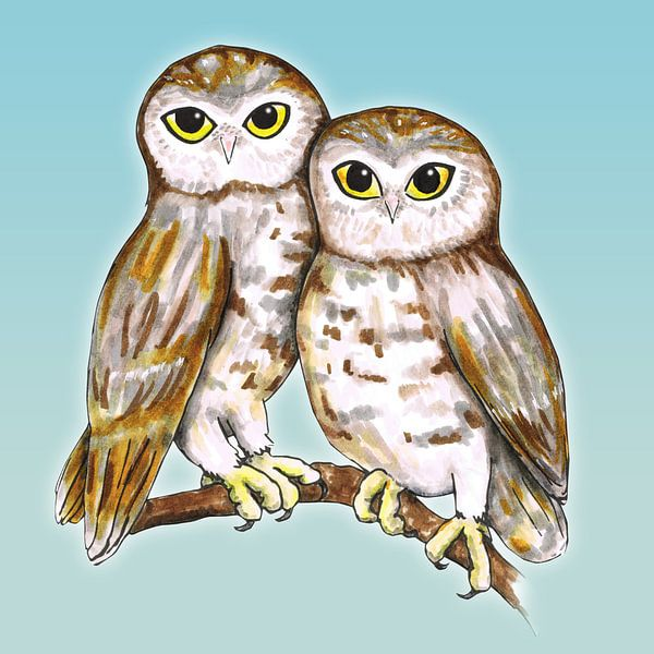 Twee schattige uilen van Bianca Wisseloo