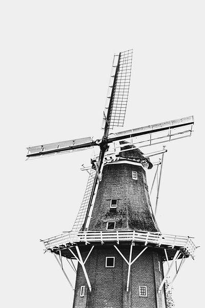 Friesische Windmühle | Schwarz-Weiß-Foto von Diana van Neck Photography