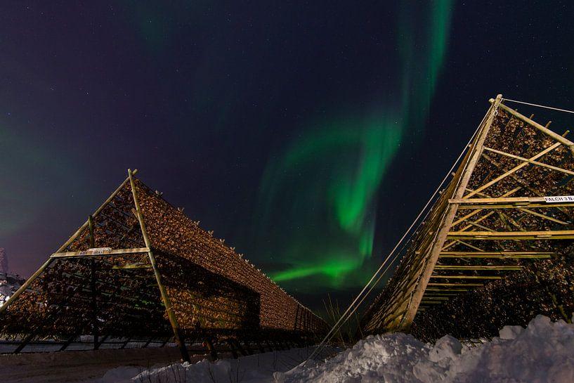 Noorderlicht boven de visrekken. van Abe Maaijen