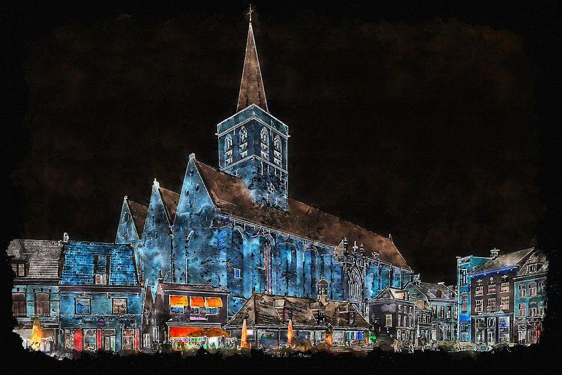 Sint Joriskerk in Amersfoort by night (kunst) van Art by Jeronimo