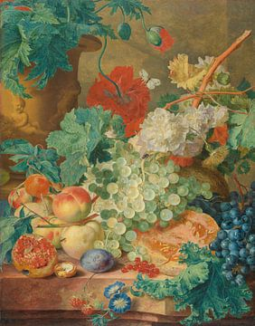 Stilleben mit Blumen und Früchten, Jan van Huysum, um 1728.
