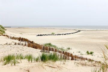 Hollum, Ameland, sable, plage, île, Pays-Bas, Wadden, mer, Frise, ciel gris, paysage, grand angle, n sur Ans van Heck