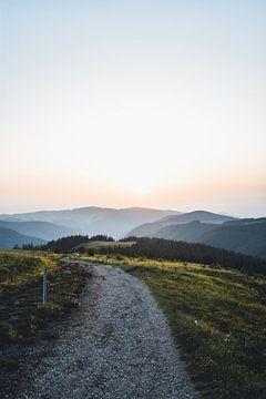 Sonnenuntergang am Berg im Schwarzwald von Dylan Shu