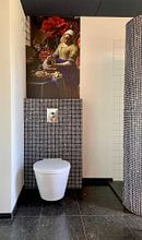Klantfoto: Het Melkmeisje met de vaas, Vermeer en de Heem, als naadloos behang