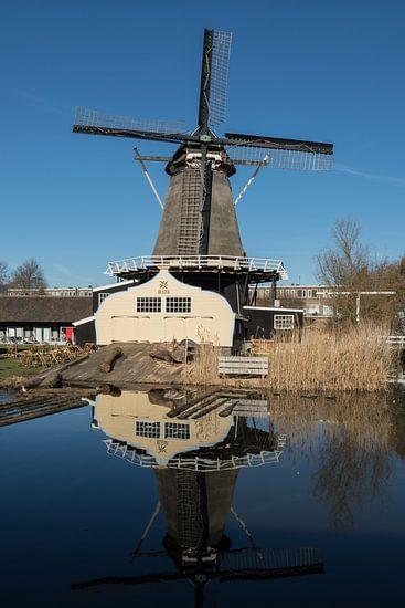 Molen de Ster in Utrecht met zijn reflectie in kleur