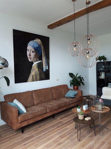 Klantfoto: Meisje met parel - Meisje van Vermeer - Schilderij (HQ) van Schilderijen Nu, op fotoprint