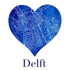 Delft | Stadtplan in einem Delfter blauen Herzen von Wereldkaarten.Shop