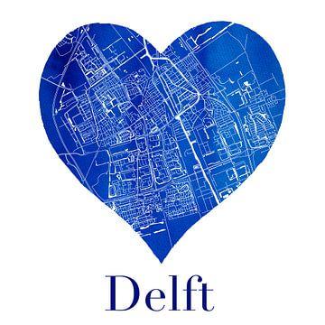 Delft | Stadskaart in een Delftsblauwe hart van Wereldkaarten.Shop