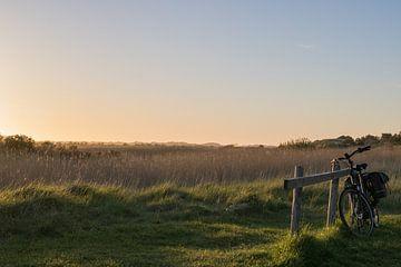 Fahrrad bei Sonnenuntergang in West-Terschelling von Youp Lotgerink