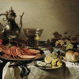 Pieter Claesz - Stilleven met zilverwerk en kreeft 1641 van Marieke de Koning