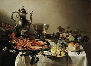 Pieter Claesz - Stilleven met zilverwerk en kreeft 1641 van
