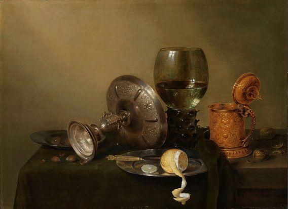 Stilleven met vergulde bierkan, Willem Claesz. Heda van Meesterlijcke Meesters
