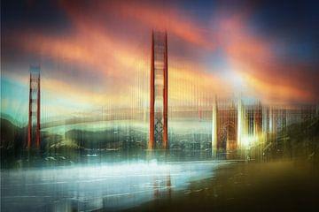Mehrfachbelichtung abstrakt Golden Gate Bridge in San Francisco USA vom Baker Beach von Dieter Walther