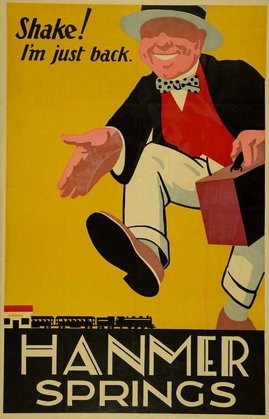 Reclameposter van de trein in Nieuw Zeeland uit 1927 van Atelier Liesjes