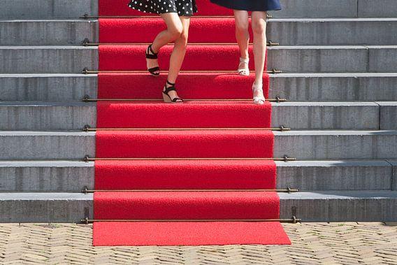 Twee jonge vrouwen op een rode loper