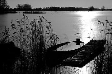Gezonken boot aan steiger von Leo van Valkenburg