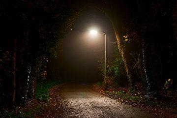 Door straatlantaarn verlicht straatje van Jenco van Zalk