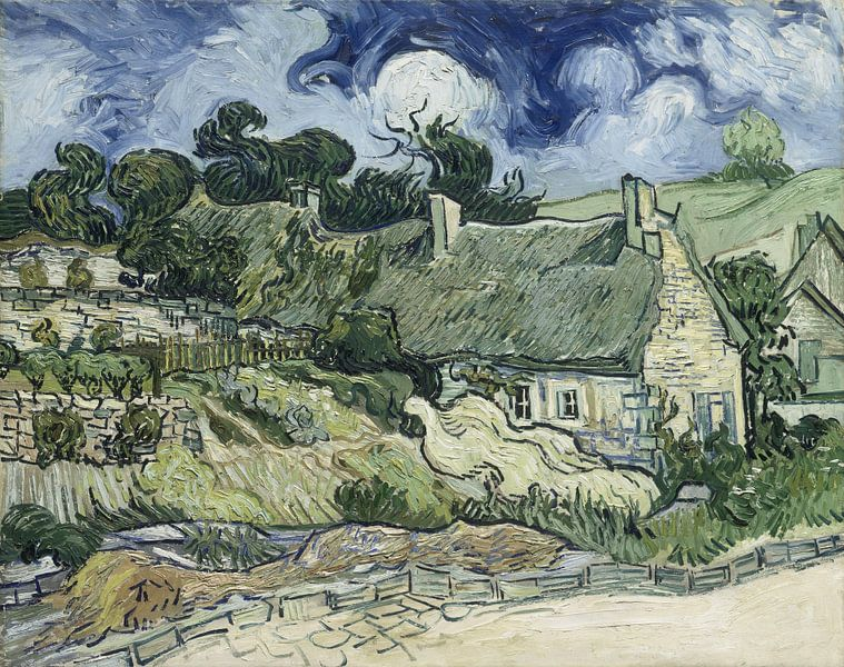 Vincent van Gogh. Thatched Cottages at Cordeville van 1000 Schilderijen