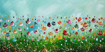 Fleurs vertes sur Gena Theheartofart